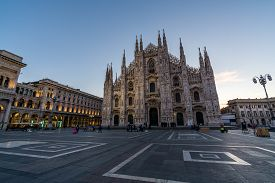 Milan, Italy - October 07, 2017 :  Duomo Di Milan , The Most Famous Gothic White Marble Cathedral Ch