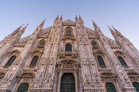 Close Up Of Duomo Di Milano Church In The Early Morning During Sunrise, Milan Italy.