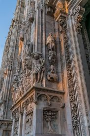 Close Up Of Sculpture That Decorating Around Duomo  Di Milano Church In The Early Morning, Milan Ita