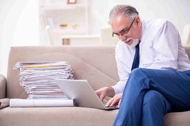 Aged businessman employee working from house