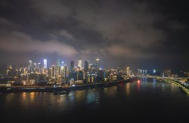 Chongqing, China - Sep 1, 2019: Aerial View Of Chongqing City At Night