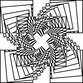 Abstract Arabesque Inside Tower Like Wired Stairs Structure Illusion Perspective Design Black On Tra