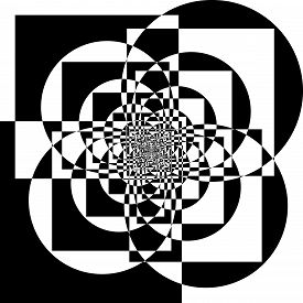 Abstract Arabesque Geometric Aproach Circle And Square Game Perspective Design Black On Transparent