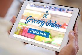 Grocery Online Shop To Order Food Delivery From Supermarket, Senior Man Hands Using Digital Tablet F