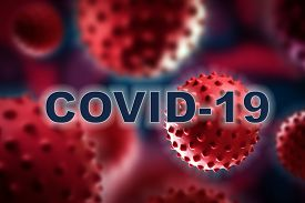 Collage of Flu COVID-19 virus cells in blood under the microscope. Coronavirus Covid-19 word background . Medical concept