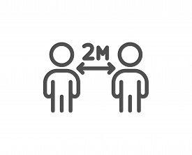Social Distancing Line Icon. 2 Meters Distance Between Sign. Coronavirus Pandemic Symbol. Quality De