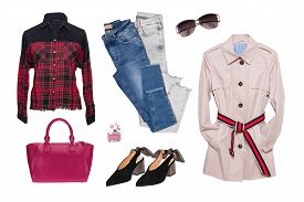 Collage Woman Clothes. Set Of A Stylish And Trendy Women Coat, A Blouse Or Shirt, Shoes, A Sweater,