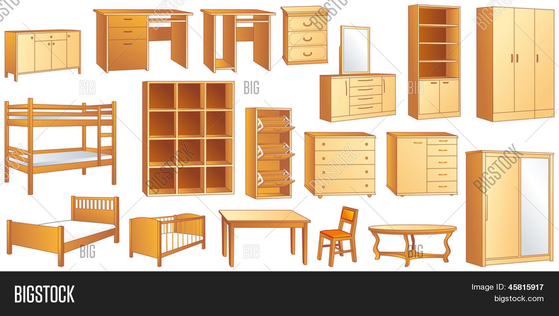 Vector y foto Conjunto De Muebles De Madera: Có | Bigstock