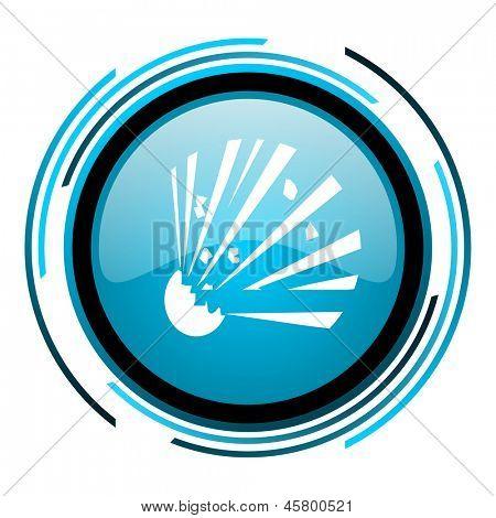 bomb blue circle glossy icon