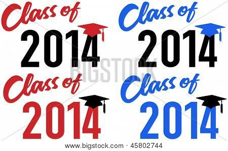 Klasse von 2014 Abschluss Feier Ankündigung Caps in den Farben rot und blau-Schule