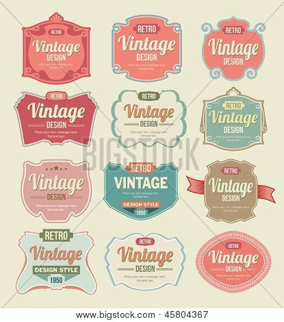 Vector Labels Vintage Set