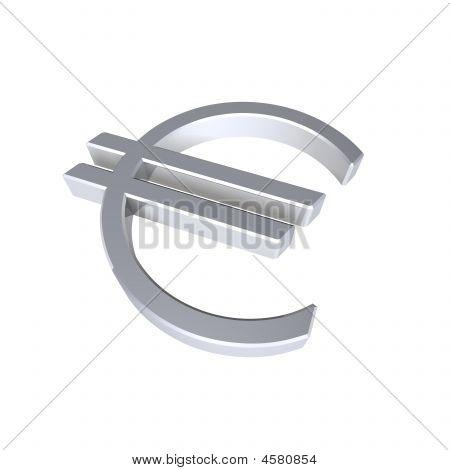 Silber Eurosymbol isoliert auf weiss