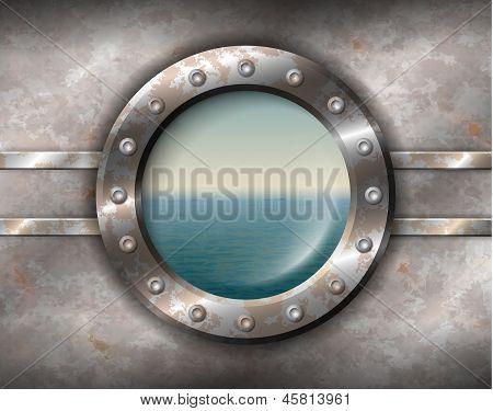 Rusty Porthole With Seascape