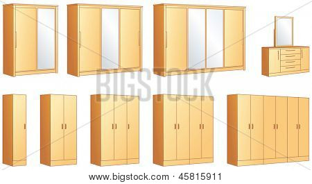 Bedroom furniture - modular wardrobes and dressing commode with mirror. Vector illustration objects