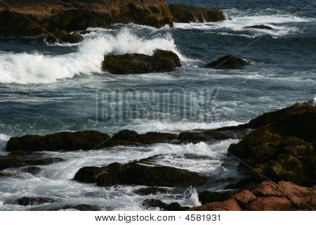 Waves On Rocky Shore