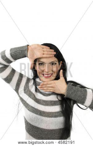 Cute Woman Framing Face