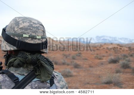 A Soldier Looks On Into The Distance poster