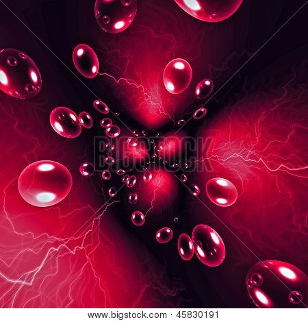 Abstract magic background with transparent bubbles and lightning poster