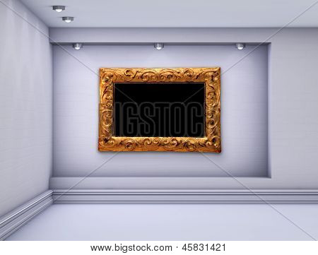 3D Niche With Spotlights And Empty Picture Frame For Exhibit In The Grey Interior.