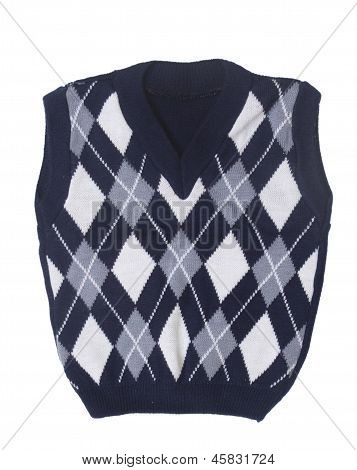 Plaid Baby Knitted Vest On A White Background