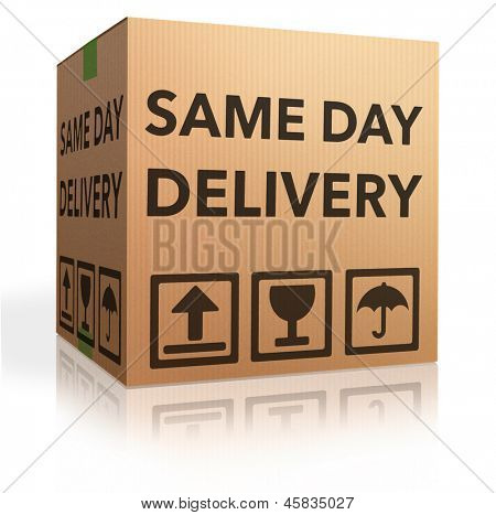 package delivery same day shipment urgent and quick cardboard box internet web shop order delivery poster