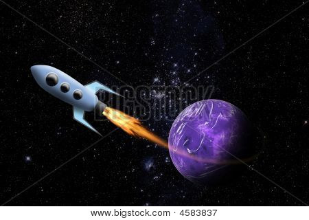 Spaceship And Planet In Space