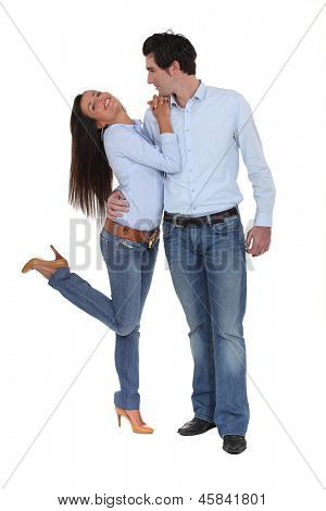 Co-ordinated couple in denim