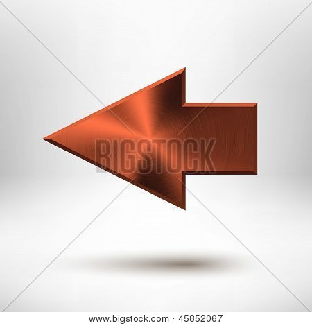 Left arrow sign with bronze metal texture (silver, chrome, stainless steel, iron, copper), light background and shadow for web user interfaces (UI), applications (apps) and business presentations. poster