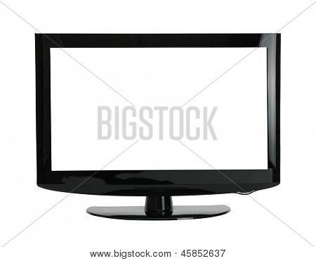 blank flat screen TV set, isolated on white background