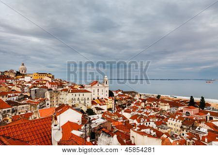 Aerial View On Alfama District Of Lisbon, Portugal
