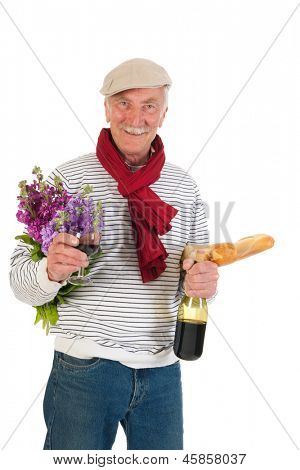 Typical French man with bread and wine isolated over white background poster