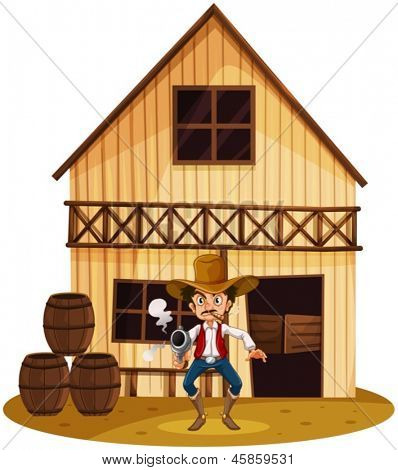 Illustration of a man holding a gun near the barrels on a white background