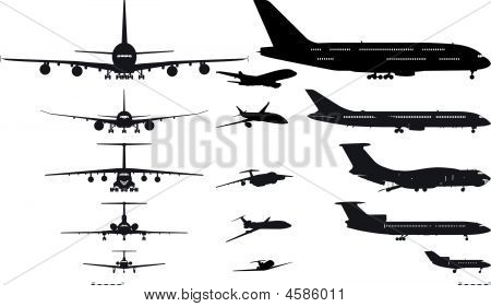 Vector Airplanes Silhouettes Set
