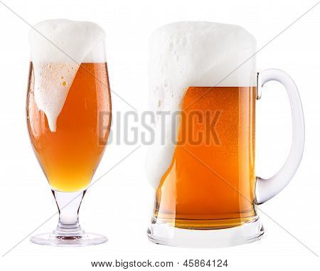 Frosty Fresh Beer  With Foam Isolated
