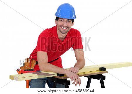 portrait of dishy carpenter all smiles