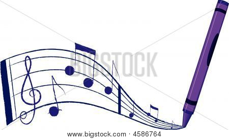 Music Flowing Out Of A Crayon - Vector Illustration