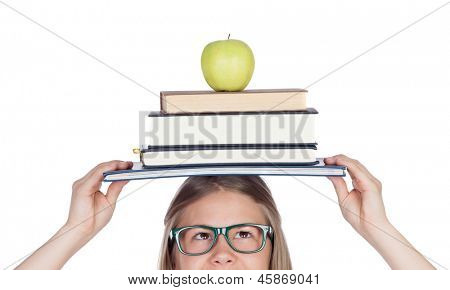College student charged with books on her head isolated on white background