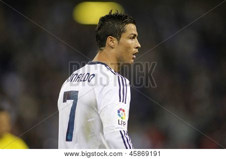 BARCELONA - MAY, 11: Cristiano Ronaldo of Real Madrid during the Spanish League match between Espanyol and Real Madrid at the Estadi Cornella on May 11, 2013 in Barcelona, Spain
