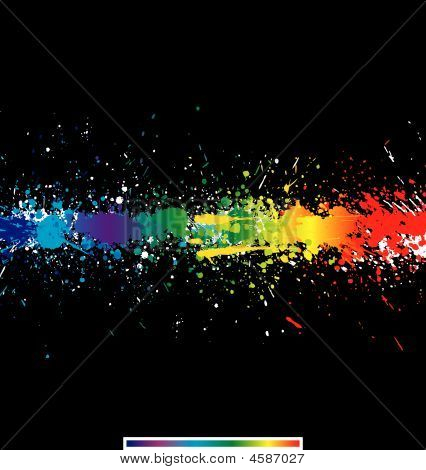 Illustration of line color paint splashes on black background poster