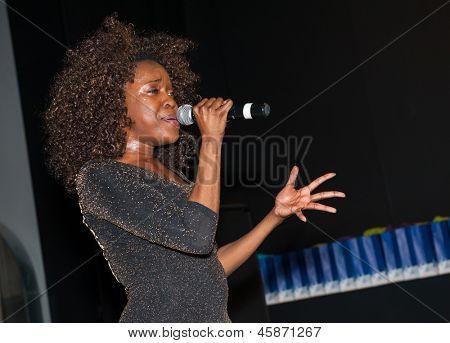 MOSCOW - MAY 22: Singer Karmen Moxie performs at graduation