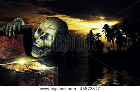 Pirate opening a chest full of gold coins in the caribbeans