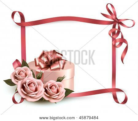 Holiday background with three roses and gift box and ribbon. Raster version of vector.