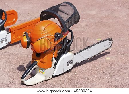 Chain Saw And Protective Equipment For Work.