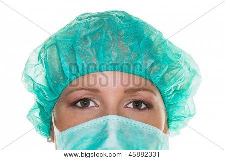 surgeon with a mask and hood. doctor ready for surgery