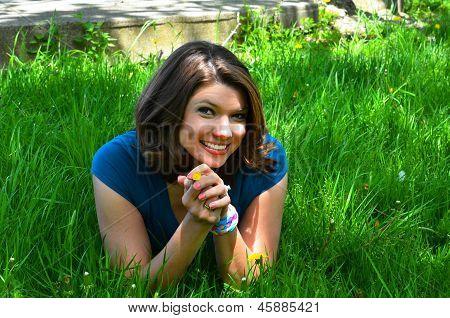 A Pretty Girl in a Green Meadow