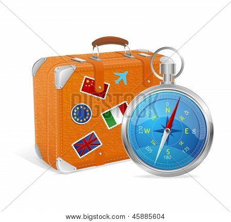 Blue Compass and suitcase. Vector Illustration.