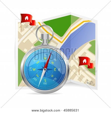 Blue Compass and map. Vector Illustration.