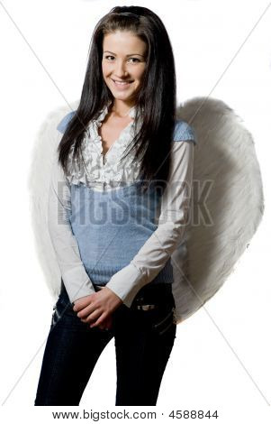 Pretty Angel Over White Background