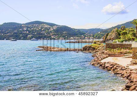 Beach and the castle in La Naouple, French Riviera
