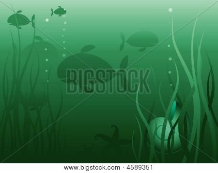 Underwater sea life green background. Vector illustration. poster